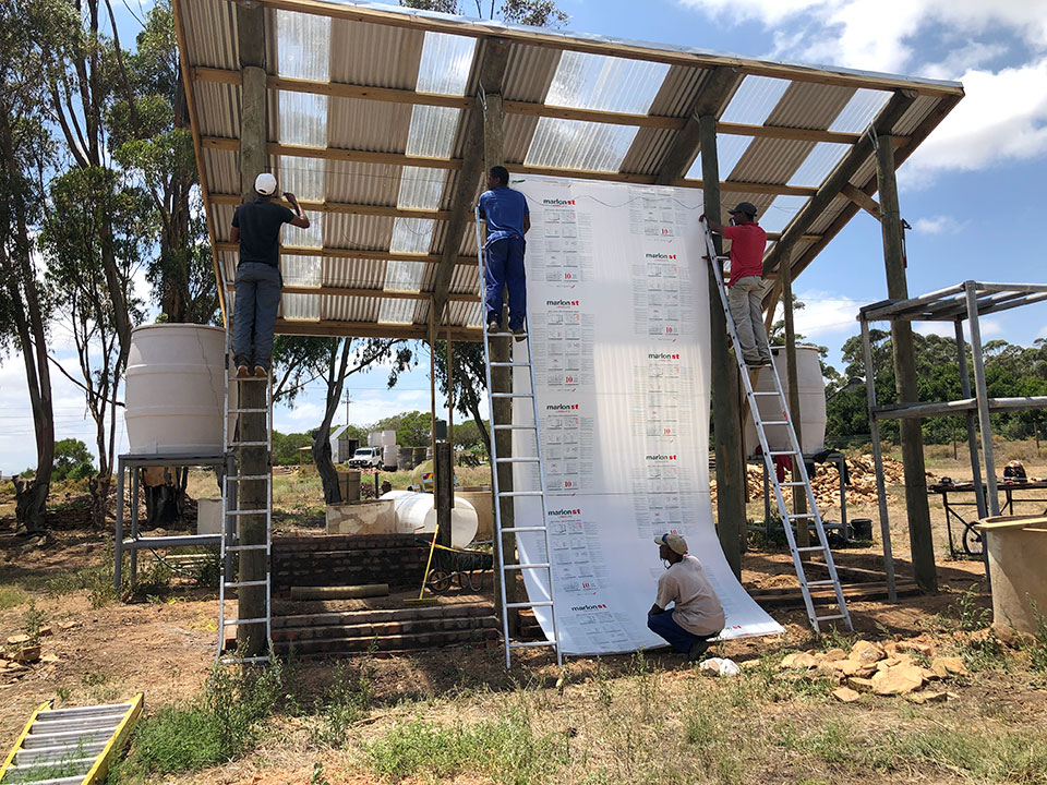 Building the new greenhouse at the Klipdale Groundwater Phytoremediation project